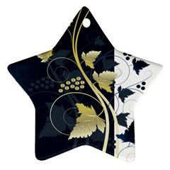 Tree Leaf Flower Circle White Blue Star Ornament (two Sides)