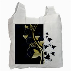 Tree Leaf Flower Circle White Blue Recycle Bag (one Side)