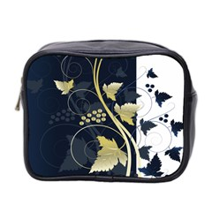 Tree Leaf Flower Circle White Blue Mini Toiletries Bag 2 Side by Jojostore