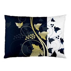 Tree Leaf Flower Circle White Blue Pillow Case (two Sides)
