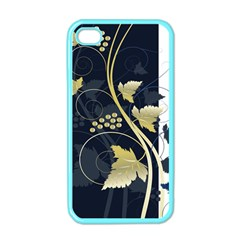 Tree Leaf Flower Circle White Blue Apple Iphone 4 Case (color) by Jojostore