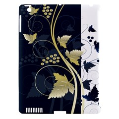 Tree Leaf Flower Circle White Blue Apple Ipad 3/4 Hardshell Case (compatible With Smart Cover)