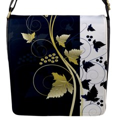 Tree Leaf Flower Circle White Blue Flap Messenger Bag (s)