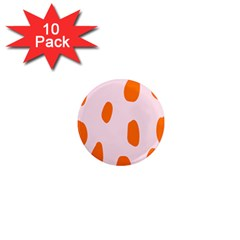 Polka Dot Orange Pink 1  Mini Magnet (10 Pack)  by Jojostore