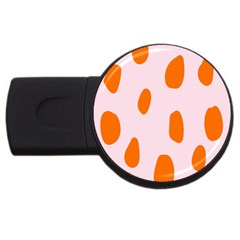 Polka Dot Orange Pink Usb Flash Drive Round (2 Gb) by Jojostore
