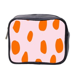 Polka Dot Orange Pink Mini Toiletries Bag 2 Side
