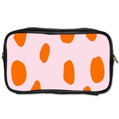 Polka Dot Orange Pink Toiletries Bags 2 Side by Jojostore