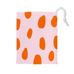 Polka Dot Orange Pink Drawstring Pouches (large)  by Jojostore