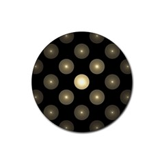 Gray Balls On Black Background Rubber Round Coaster (4 Pack)