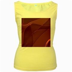 Brown Background Waves Abstract Brown Ribbon Swirling Shapes Women s Yellow Tank Top by Nexatart