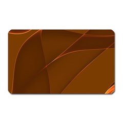 Brown Background Waves Abstract Brown Ribbon Swirling Shapes Magnet (rectangular) by Nexatart
