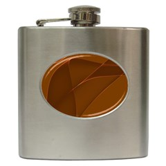 Brown Background Waves Abstract Brown Ribbon Swirling Shapes Hip Flask (6 Oz) by Nexatart