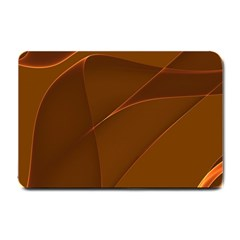 Brown Background Waves Abstract Brown Ribbon Swirling Shapes Small Doormat  by Nexatart