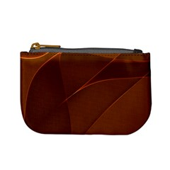 Brown Background Waves Abstract Brown Ribbon Swirling Shapes Mini Coin Purses by Nexatart