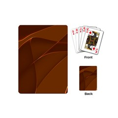 Brown Background Waves Abstract Brown Ribbon Swirling Shapes Playing Cards (mini)  by Nexatart