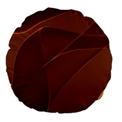 Brown Background Waves Abstract Brown Ribbon Swirling Shapes Large 18  Premium Flano Round Cushions by Nexatart