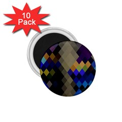 Background Of Blue Gold Brown Tan Purple Diamonds 1 75  Magnets (10 Pack)