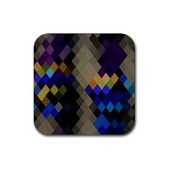 Background Of Blue Gold Brown Tan Purple Diamonds Rubber Square Coaster (4 Pack)