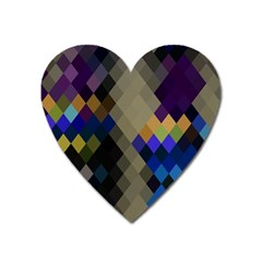 Background Of Blue Gold Brown Tan Purple Diamonds Heart Magnet by Nexatart