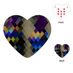 Background Of Blue Gold Brown Tan Purple Diamonds Playing Cards (heart)  by Nexatart
