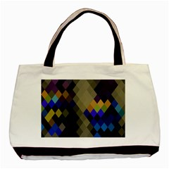 Background Of Blue Gold Brown Tan Purple Diamonds Basic Tote Bag (two Sides) by Nexatart