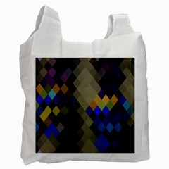 Background Of Blue Gold Brown Tan Purple Diamonds Recycle Bag (one Side)