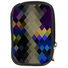 Background Of Blue Gold Brown Tan Purple Diamonds Compact Camera Cases