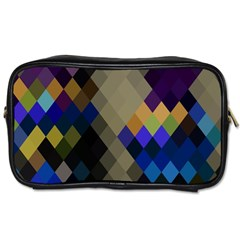 Background Of Blue Gold Brown Tan Purple Diamonds Toiletries Bags by Nexatart