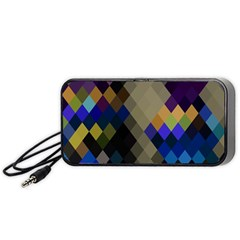 Background Of Blue Gold Brown Tan Purple Diamonds Portable Speaker (black) by Nexatart