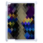 Background Of Blue Gold Brown Tan Purple Diamonds Apple iPad 2 Case (White) Front