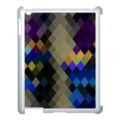 Background Of Blue Gold Brown Tan Purple Diamonds Apple Ipad 3/4 Case (white) by Nexatart