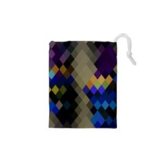 Background Of Blue Gold Brown Tan Purple Diamonds Drawstring Pouches (xs)  by Nexatart