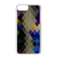 Background Of Blue Gold Brown Tan Purple Diamonds Apple Iphone 7 Plus White Seamless Case by Nexatart