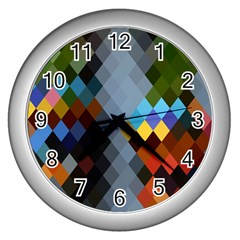 Diamond Abstract Background Background Of Diamonds In Colors Of Orange Yellow Green Blue And More Wall Clocks (silver)  by Nexatart