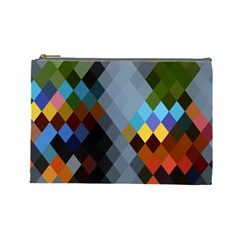 Diamond Abstract Background Background Of Diamonds In Colors Of Orange Yellow Green Blue And More Cosmetic Bag (large)  by Nexatart