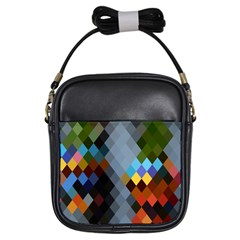 Diamond Abstract Background Background Of Diamonds In Colors Of Orange Yellow Green Blue And More Girls Sling Bags by Nexatart