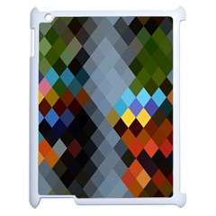 Diamond Abstract Background Background Of Diamonds In Colors Of Orange Yellow Green Blue And More Apple Ipad 2 Case (white) by Nexatart