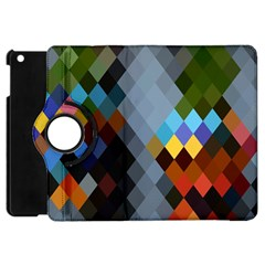 Diamond Abstract Background Background Of Diamonds In Colors Of Orange Yellow Green Blue And More Apple Ipad Mini Flip 360 Case by Nexatart