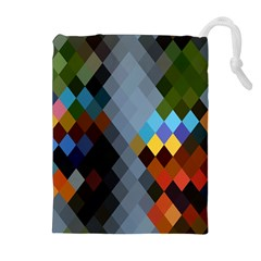 Diamond Abstract Background Background Of Diamonds In Colors Of Orange Yellow Green Blue And More Drawstring Pouches (extra Large)
