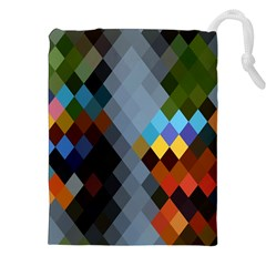 Diamond Abstract Background Background Of Diamonds In Colors Of Orange Yellow Green Blue And More Drawstring Pouches (xxl)