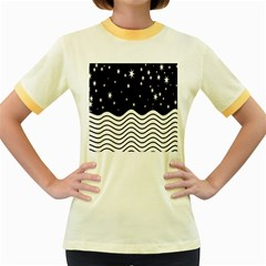 Black And White Waves And Stars Abstract Backdrop Clipart Women s Fitted Ringer T Shirts by Nexatart