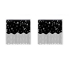 Black And White Waves And Stars Abstract Backdrop Clipart Cufflinks (square) by Nexatart