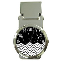 Black And White Waves And Stars Abstract Backdrop Clipart Money Clip Watches by Nexatart