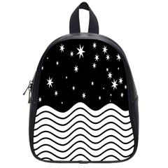 Black And White Waves And Stars Abstract Backdrop Clipart School Bags (small)