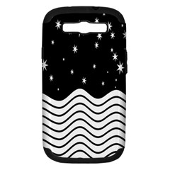 Black And White Waves And Stars Abstract Backdrop Clipart Samsung Galaxy S Iii Hardshell Case (pc+silicone) by Nexatart