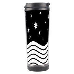 Black And White Waves And Stars Abstract Backdrop Clipart Travel Tumbler by Nexatart