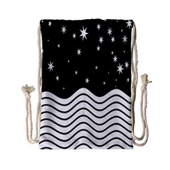Black And White Waves And Stars Abstract Backdrop Clipart Drawstring Bag (small) by Nexatart