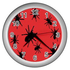 Illustration With Spiders Wall Clocks (silver)  by Nexatart