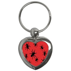 Illustration With Spiders Key Chains (heart)  by Nexatart