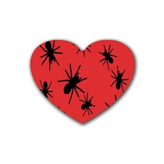 Illustration With Spiders Rubber Coaster (heart)  by Nexatart